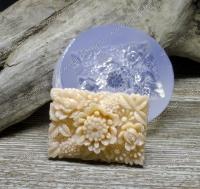 Молд силиконовый Кабошон с цветами прямоуголный 35х25х4 мм (1 шт)
