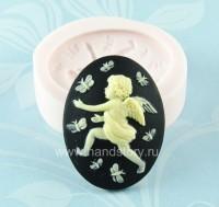 Молд силиконовый камея Ангел и бабочки 40х30 мм (1 шт)